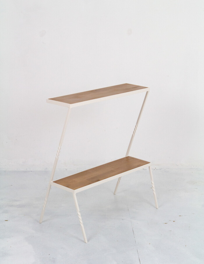 Industrial Side Table Wood & Iron-3