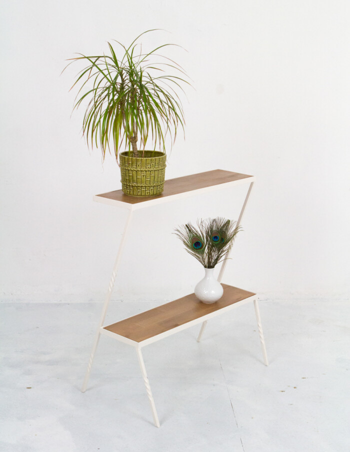 Industrial Side Table Wood & Iron-9