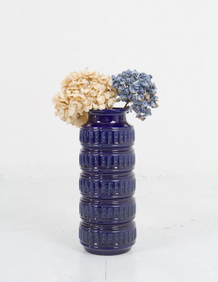 Large German Blue Ceramic Vase-3
