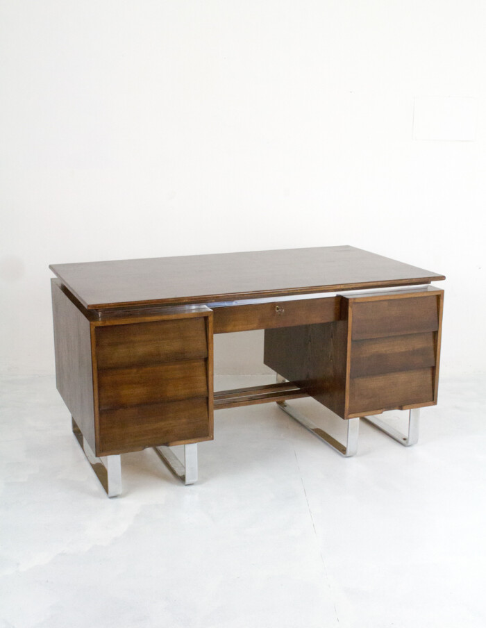 Large Industrial Restored Desk on Chrome Legs-14