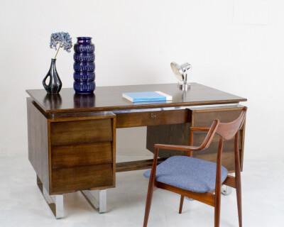 Large Industrial Restored Desk on Chrome Legs