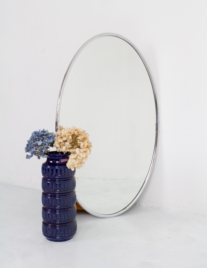 Large Oval Shaped Spiegel Mirror in Chrome Frame-10