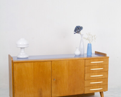 Large Restored Tatra Sideboard with Bakelite Handles and Iceblue Glass Top, 1960's