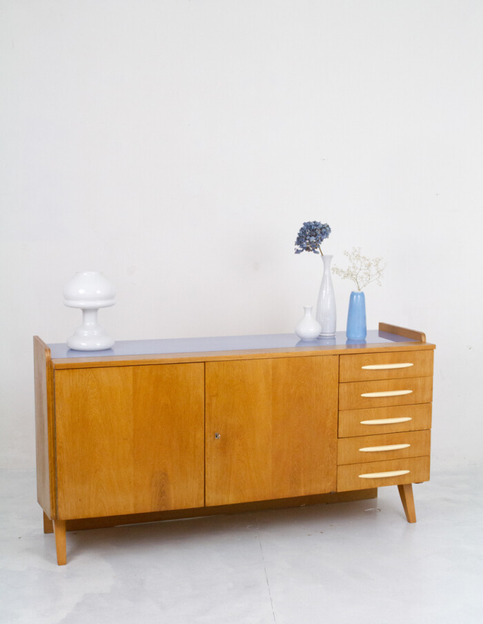 Large Restored Tatra Sideboard with Bakelite Handles and Iceblue Glass Top-13