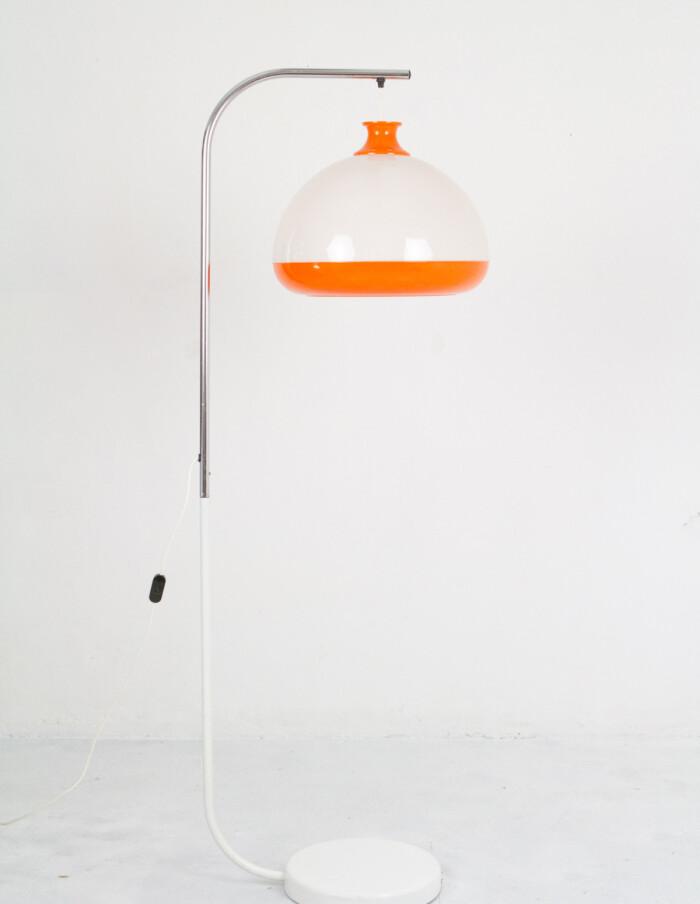 Mid-Century Orange & White Floor Lamp on Chrome Base-3