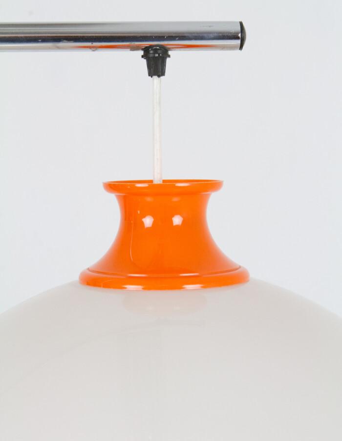 Mid-Century Orange & White Floor Lamp on Chrome Base-5