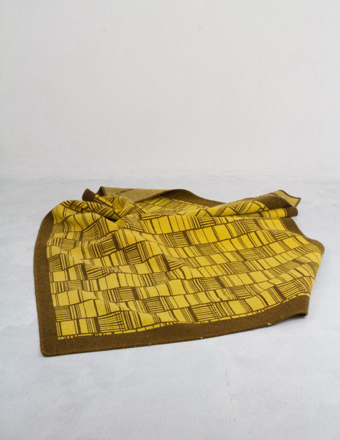 Mid-Century Yellow Carpet with Brown Patterns -14