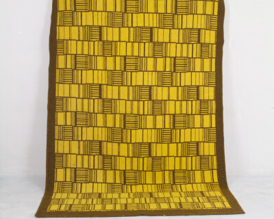 Mid-Century Yellow Carpet with Brown Patterns