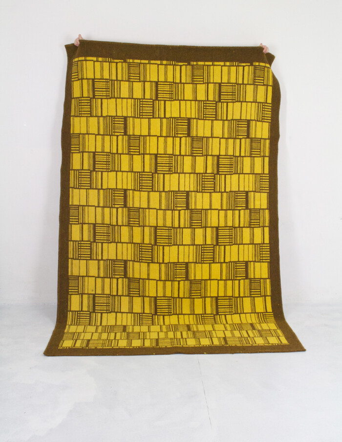 Mid-Century Yellow Carpet with Brown Patterns -15