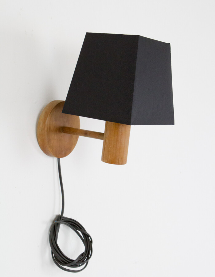 Small Artisan Wooden Wall Lamp with Black Shade-1