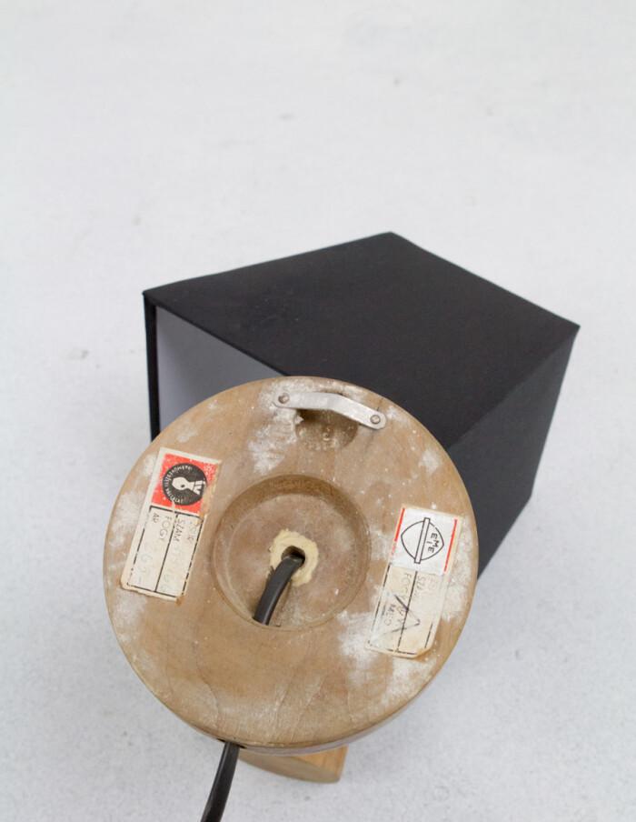 Small Artisan Wooden Wall Lamp with Black Shade-5