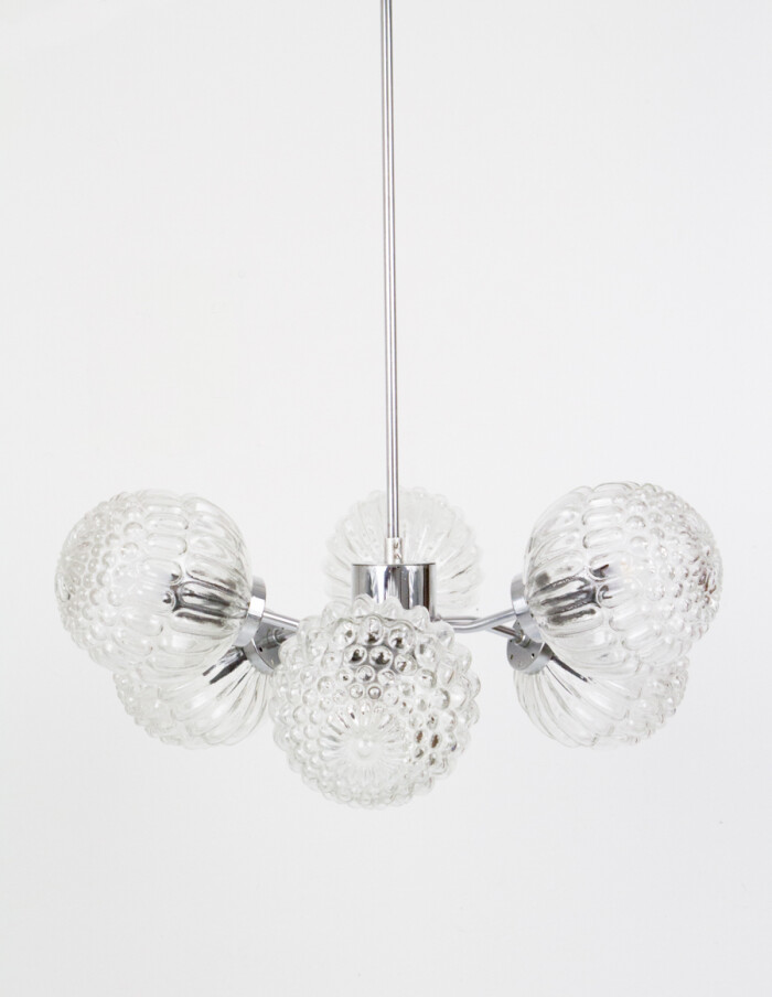 Sputnik Chandelier with 6 Glass Shades and Chrome Parts-1