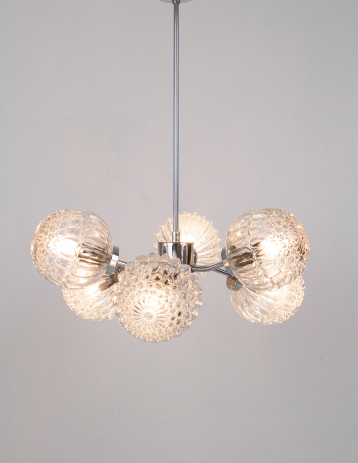 Sputnik Chandelier with 6 Glass Shades and Chrome Parts-8
