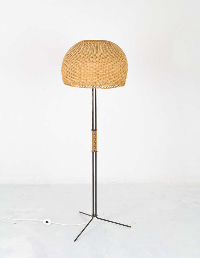 Iron Floor Lamp with Large Straw Shade, 1970-1