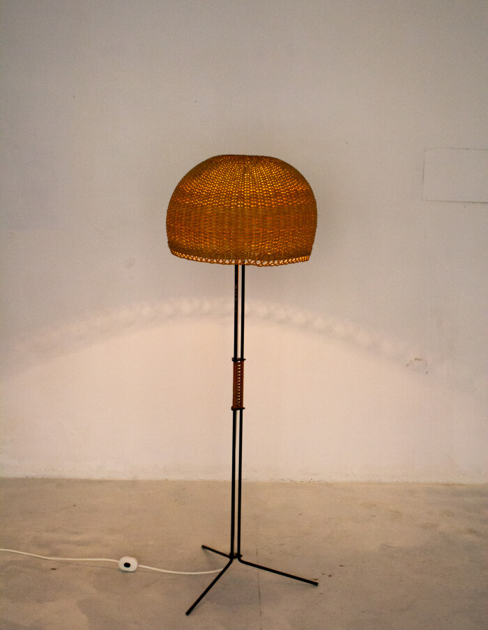 Iron Floor Lamp with Large Straw Shade, 1970-10