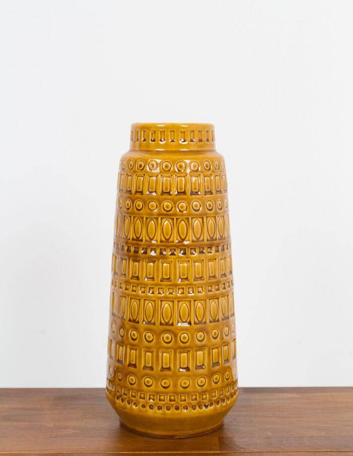 Large Mustard Yellow German Ceramic Vase by Scheurich-2