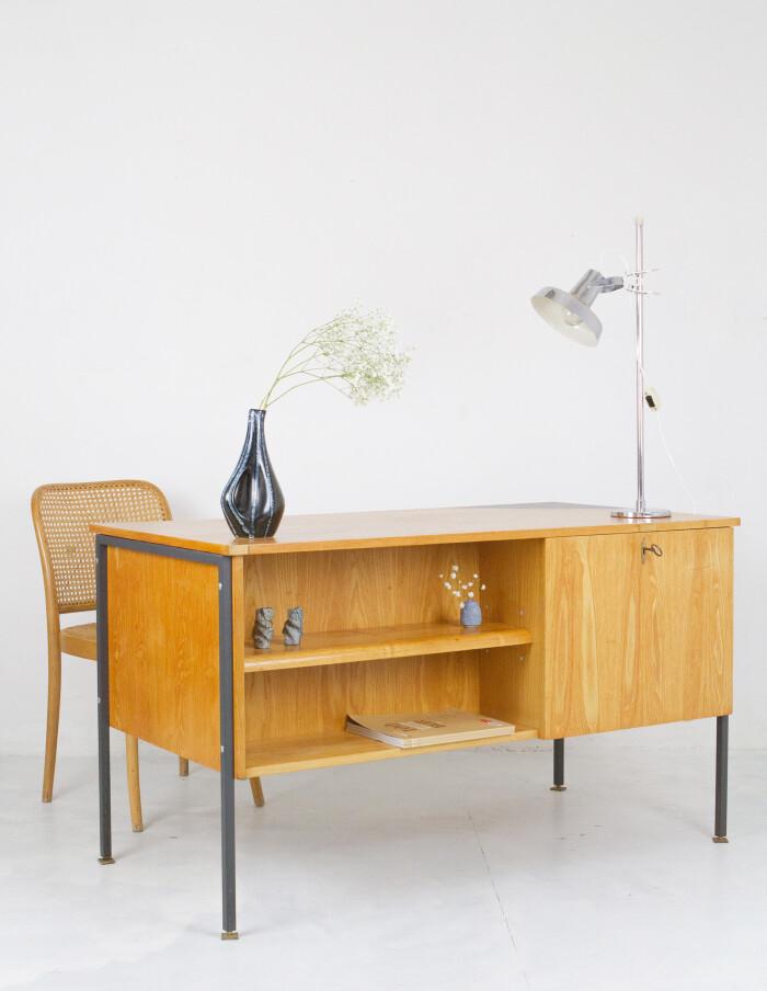 Mid-Century Restored Desk on Black Legs and Ceramic Inlay-10