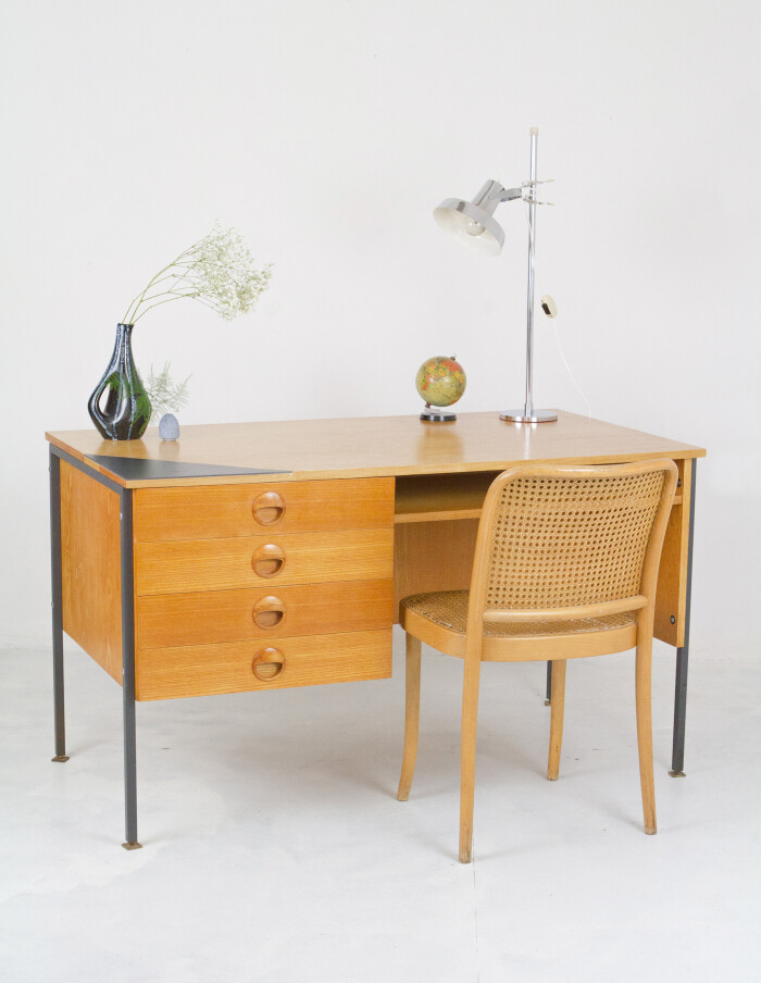 Mid-Century Restored Desk on Black Legs and Ceramic Inlay-20