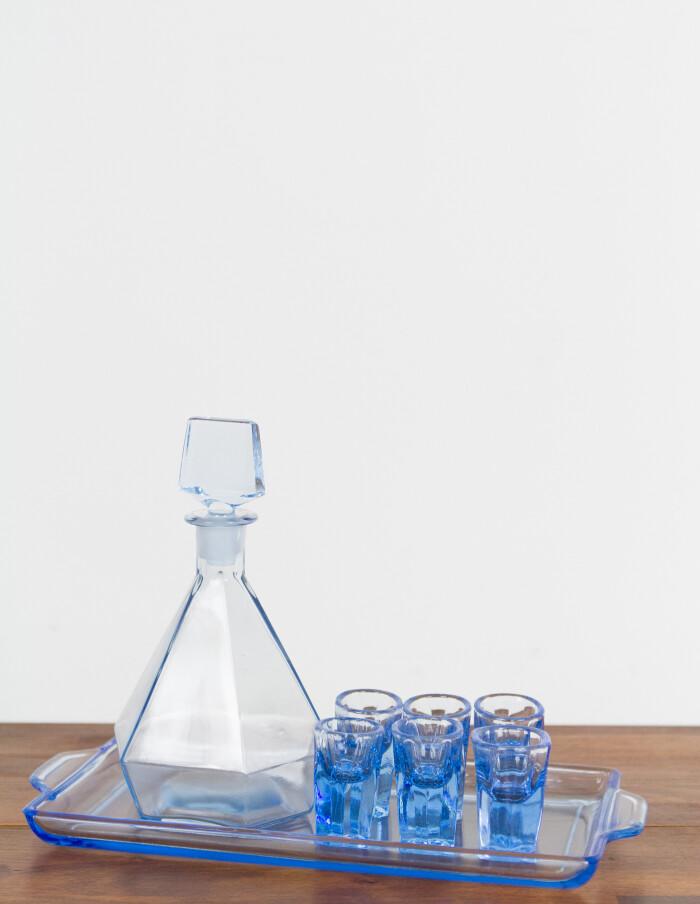Rare Art Deco Blue Glass Licquoer Set-1