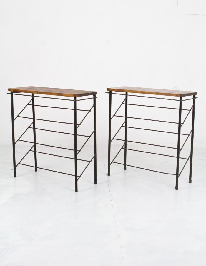 Restored Black & Walnut Side Tables with Sloping Shelves-1