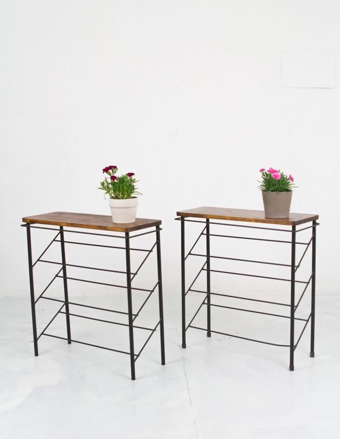 Restored Black & Walnut Side Tables with Sloping Shelves-10