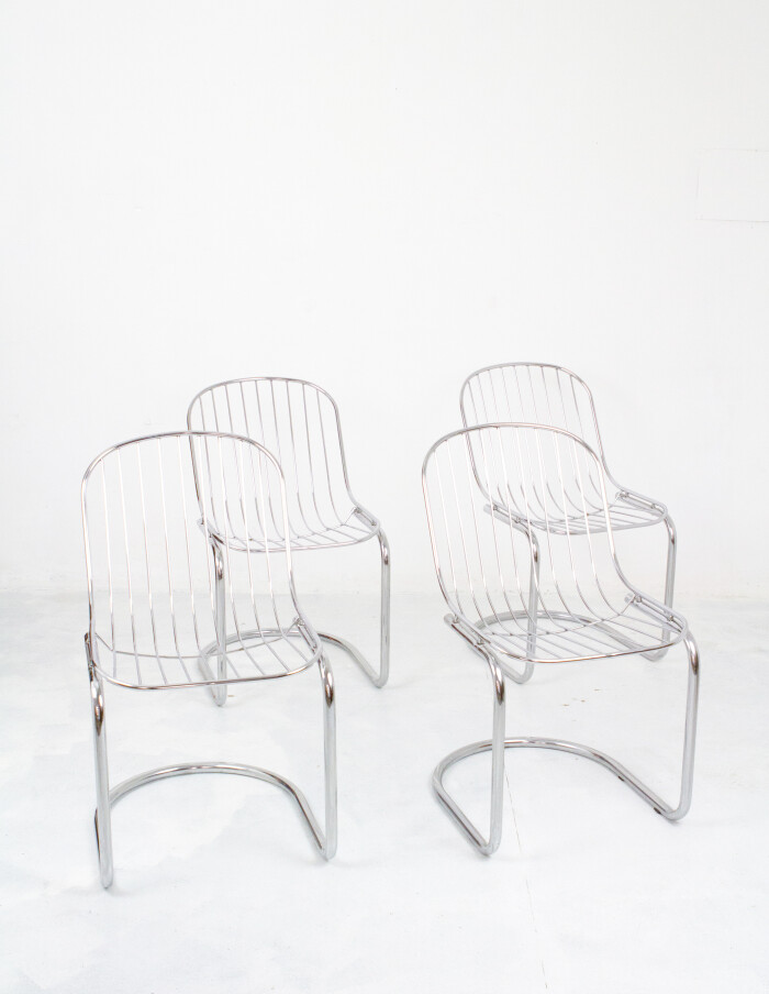 Set of 4 Chrome Chairs 1970-1