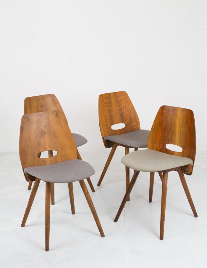 Set of 4 Walnut Dining Chairs by Frantisek Jirák for Tatra-1