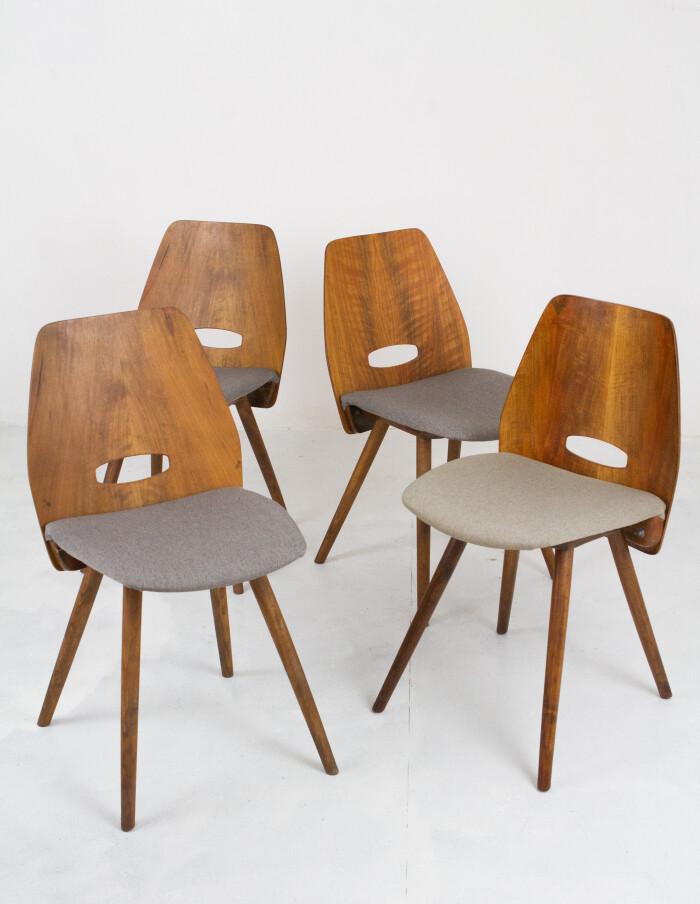 Set of 4 Walnut Dining Chairs by Frantisek Jirák for Tatra-3