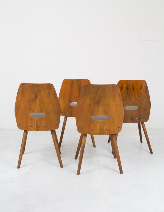 Set of 4 Walnut Dining Chairs by Frantisek Jirák for Tatra-4