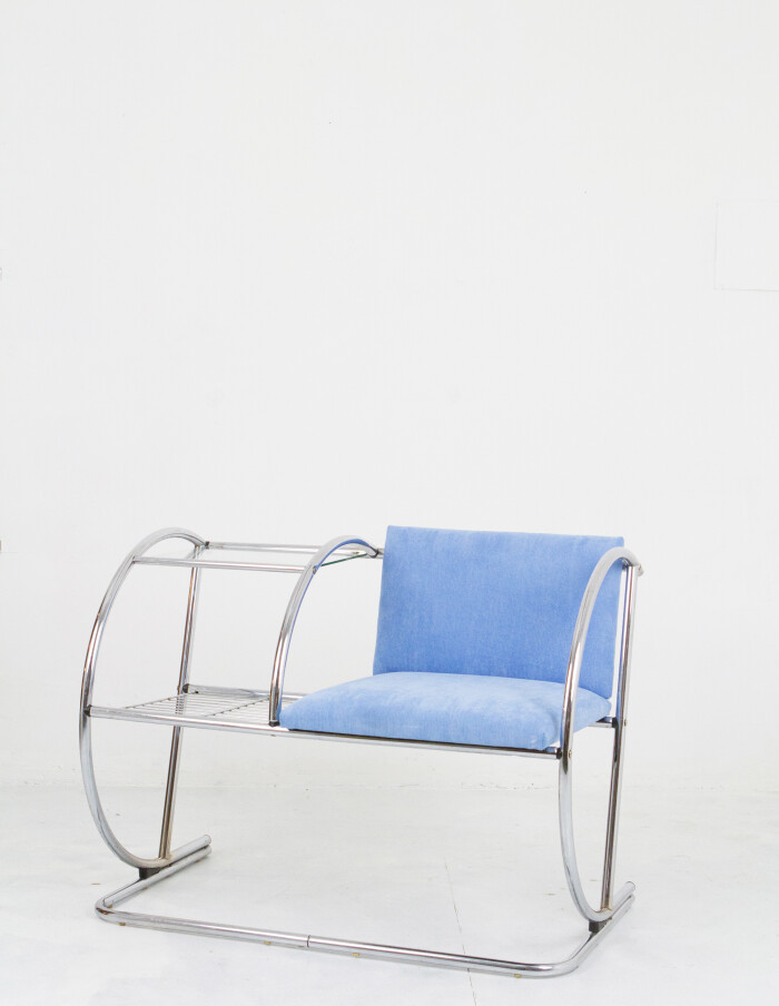 Vintage Chrome Telephone Stand with Blue Upholstery-1