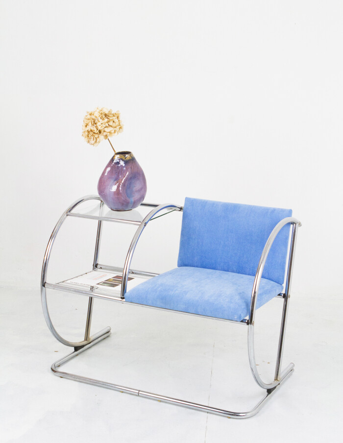 Vintage Chrome Telephone Stand with Blue Upholstery-9