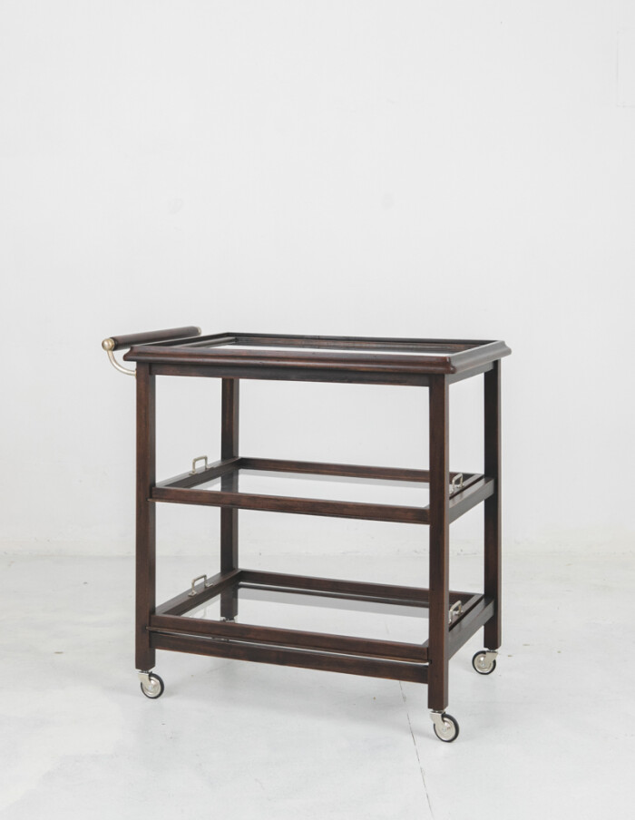 Art Deco Rolling Trolley with Removable Glass Trays-1