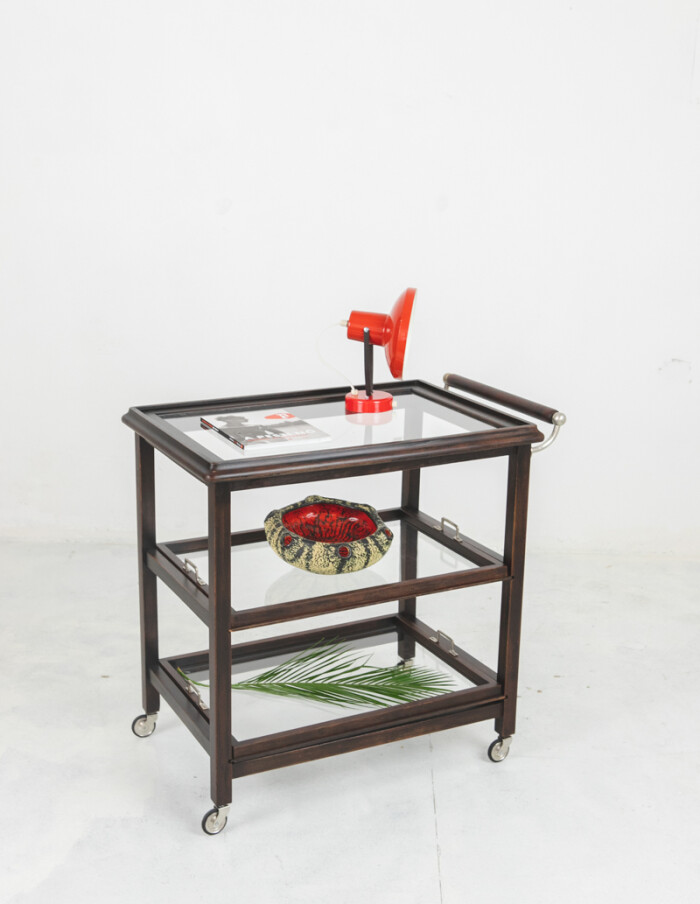 Art Deco Rolling Trolley with Removable Glass Trays-11