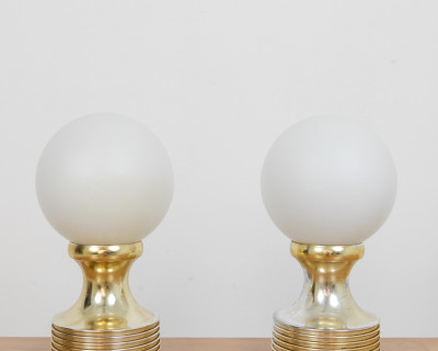 Beautiful Pair of Table Lamps with Milkglass Shade, 1970's