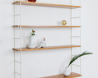 Beige Oak Shelves Perfectly Resored with 4 Shelves, 1960's