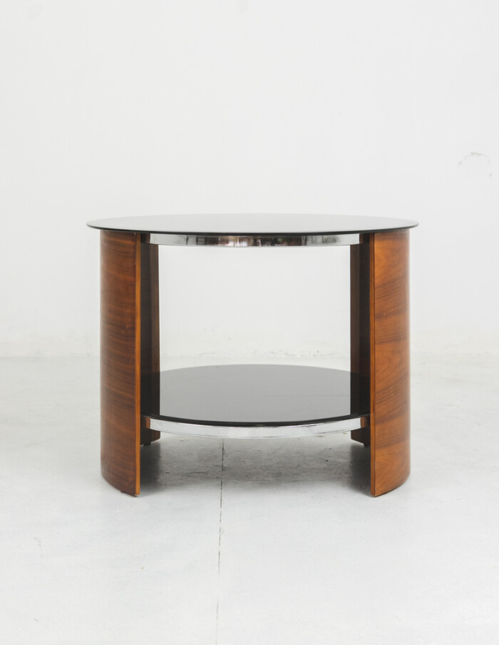 English Rounded Coffe Table with Black Glass Top-2