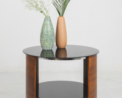 English Rounded Coffe Table with Black Glass Top, 1960's
