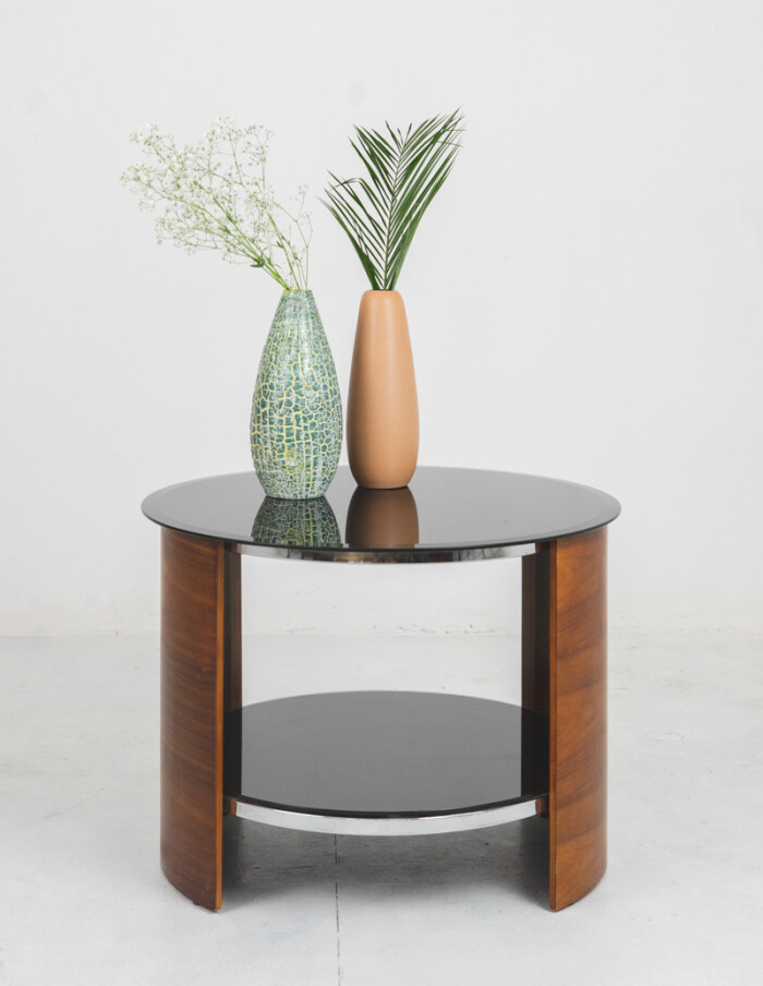 English Rounded Coffe Table with Black Glass Top-9