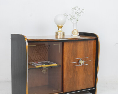 Beautiful Art Deco Hand Painted Cabinet by Erika Balogh with Original Cut Glass