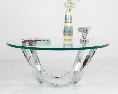 Rare Glass & Chrome Coffee Table by Roger Spunger Dunbar, 1950s