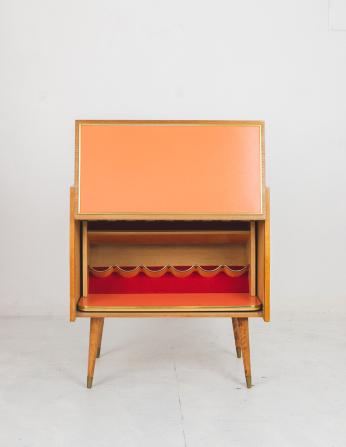 Mid-Century Bar Cabinet with Bottle Holder-2