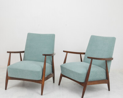 Mid-Century Restored Armchair with New Upholstery