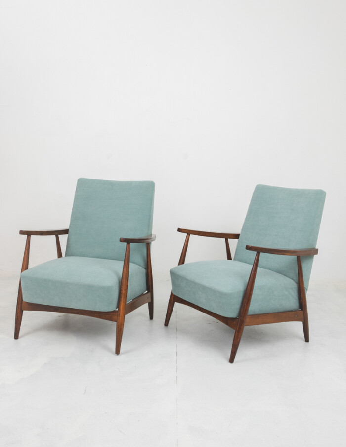 Mid-Century Restored Armchair with New Upholstery-1
