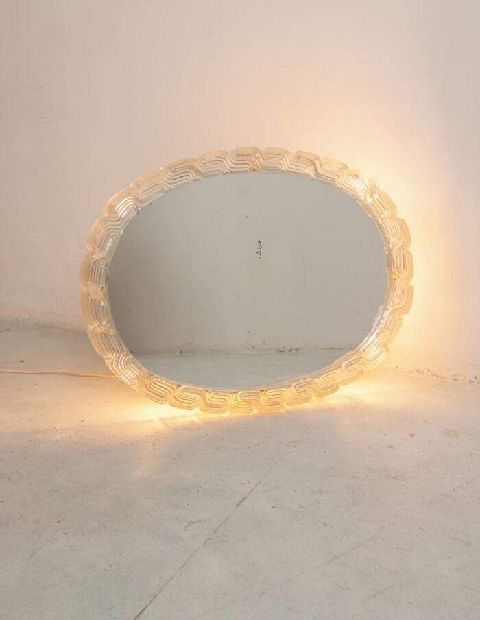 Oval Mirror with Lighting and Plexiglass Edge-2