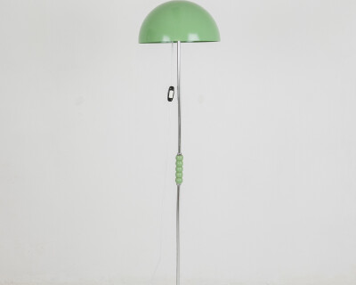 Pretty Green Floor Lamp with Wooden Sphere Decoration, 1970's