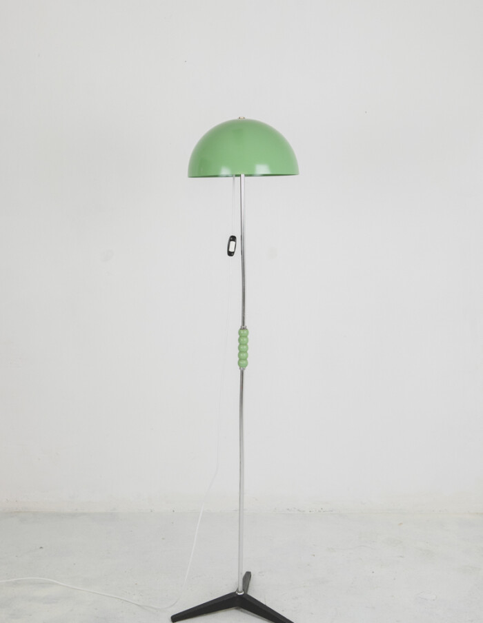 Pretty Green Floor Lamp with Wooden Sphere Decoration-1