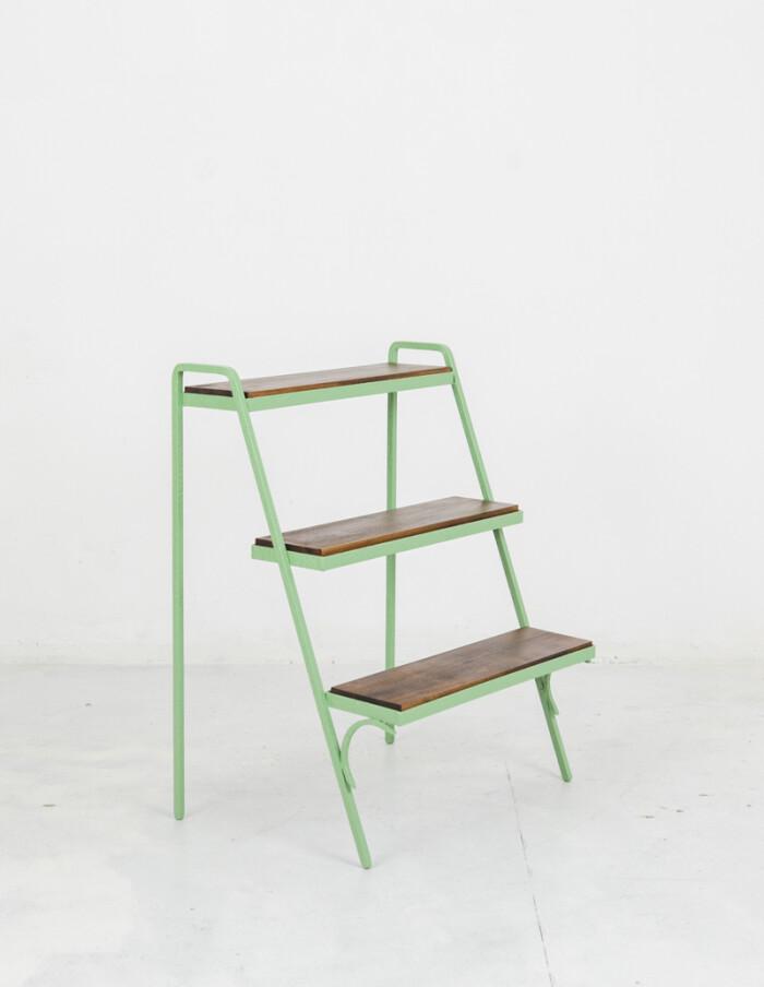 Restored Green Plant Holder with 3 Shelves-1