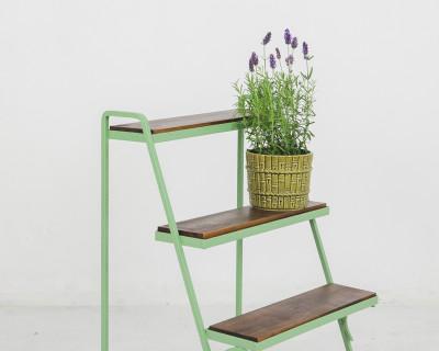 Restored Green Plant Holder with 3 Shelves, 1960's