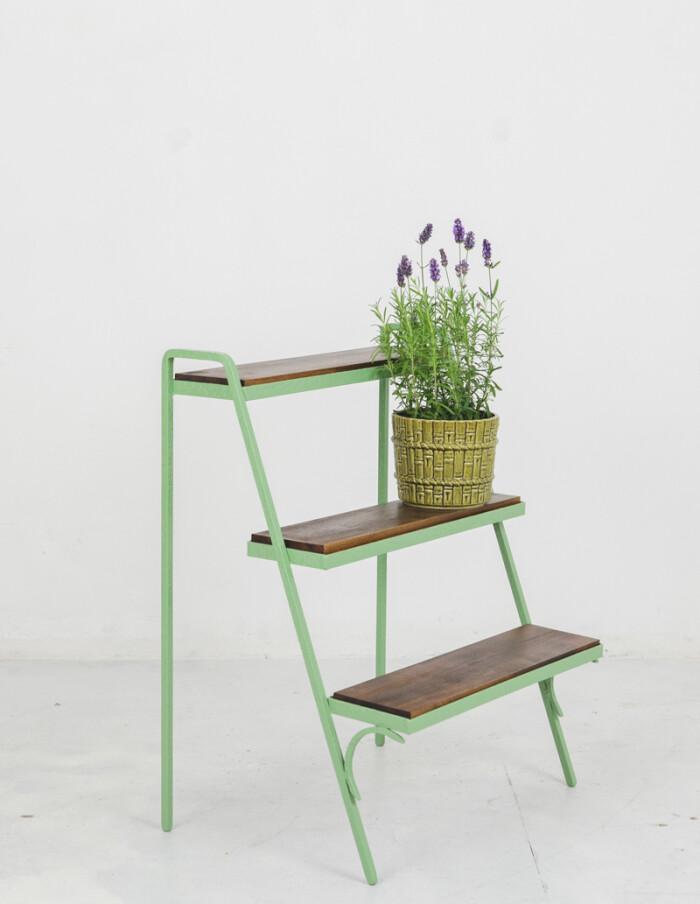 Restored Green Plant Holder with 3 Shelves-5