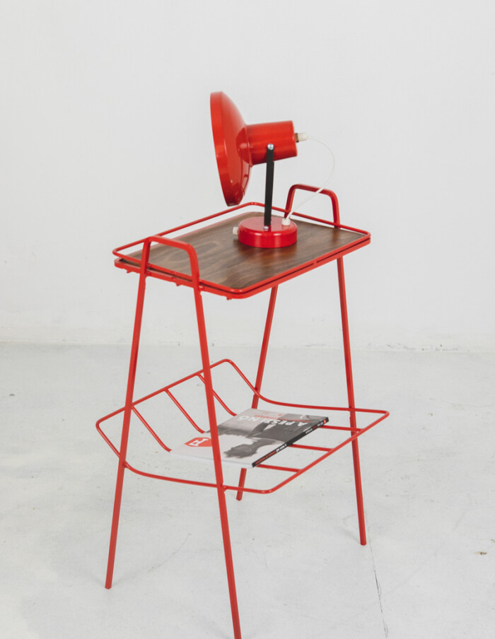 Restored Red Side Table with Wooden Top-7